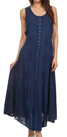 Sakkas 15230  Beverlee Embroidered Button Down Sleeveless Caftan Dress  Navy  LXL >>> You can find out more details at the link of the image.