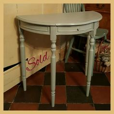 This super smart Demi Lune console was snapped up before completion! Painted with Annie Sloan Paris Grey Chalk Paint, lightly distressed and clear waxed. #misselaineous #anniesloan #chalkpaint #morethanpaint #reloved #preloved #vintage #vintagehome #countrystyle #farmhouse #rustic #smallbusiness #supportlocal #authentic #proud #paintedfurniture #homewares #demilune #console #table #parisgrey #distressed #clearwax #shabbychic #elegant