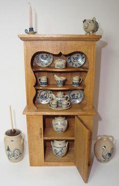 1980's Paul E. Rouleau DH Miniature Cupboard +19 pcs of Jane Graber Stoneware | eBay