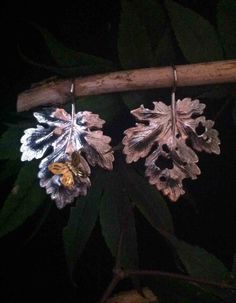 One of a kind Sterling Silver Leaf earrings by FlorencioDesigns