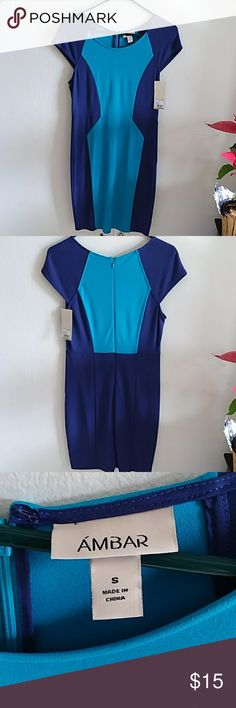 New With Tags!  Color Block Dress Turquoise and Purple Color Block Dress.  Selling because it's too big. Ambar Dresses Midi