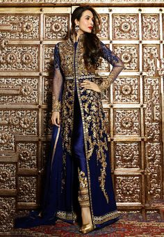 Malaika Royal Blue With Gold Kaftan Style Embroidered Pant Suit Designer Salwar Kameez, Indian Salwar Kameez, Anarkali Churidar, Designer Anarkali, Anarkali Suits, Abaya Fashion, Fashion Mode, Indian Fashion, London Fashion