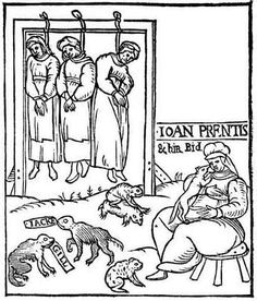 """Woodcut of the hanging of Joan Cunny and Her Daughters convicted of Witchcraft,1589 -EXCERPT: """"Joane Cunny, liuing very lewdly, hauing two lewde Daughters, no better then naughty packs, had two Bastard Children: beeing both boyes, these two Children were cheefe witnesses, and gaue in great euidence against their Grandam and Mothers, the eldest being about 10 or 12 yeeres of age.'"""