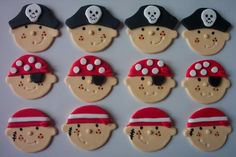 So adorable our the cupcakes - Pirate Faces Edible Fondant Cupcake or Cookie by… Cookies Fondant, Fondant Cupcake Toppers, Fondant Icing, Cupcake Cookies, Cupcakes For Boys, Cute Cupcakes, Fondant Figures, Deco Cupcake, Pirate Cupcake