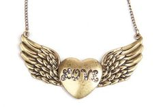 Gold Crystal LOVE Heart Wing Necklace - Sheinside.com