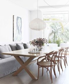 Timber Dining Table, Dining Nook, Dining Room Design, Kitchen Dining, Colored Dining Chairs, Rattan Dining Chairs, Apartment Chic, Dining Room Inspiration, Best Dining