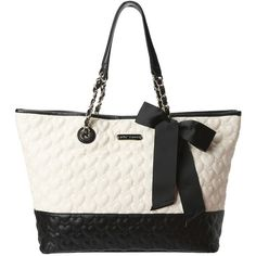 Betsey Johnson Be My One and Only Tote ($77) ❤ liked on Polyvore featuring bags, handbags, tote bags, cream multi, quilted leather handbags, leather purse, leather tote, leather tote bags and two tone leather tote