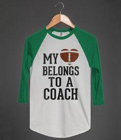 My Heart Belongs To A Football Coach (Baseball Tee)