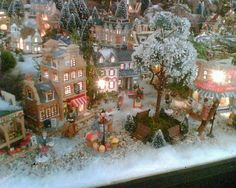 Lemax village - they don't all have to be Christmas. We don't celebrate Christmas, but we love old fashioned winter scenes. Christmas Tree Village, Christmas Town, Christmas Scenes, Christmas Villages, Noel Christmas, Rustic Christmas, Christmas Projects, Amsterdam Christmas, Christmas Mantles