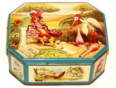 Pomona Nursery Rhyme Fable FOX Stork Bird Syrup TIN 1930s | eBay