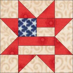 Star with Flag Center Quilt Block | blue feather quilt studio