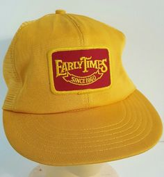 Vintage Early Times Since 1860 Whisky Trucker Hat Yellow Mesh Snapback Nomed #EarlyTimes #Trucker