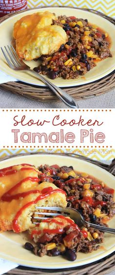Slow Cooker Tamale Pie - beef enchilada sauce and vegetables topped with cornbread and cooked in the Crockpot! via Kelly Miller {Mostly Homemade Mom} Health Slow Cooker Recipes, Slow Cooker Hamburger Recipes, Slow Cooker Lasagna, Slow Cooker Freezer Meals, Vegan Slow Cooker, Crockpot Recipes, Cooking Recipes, Slow Cooker Appetizers, Appetizer Recipes