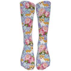 f89dc5601 Flower Kawaii Corgi Unisex Knee High Socks Athletic Tube Stockings... ❤  liked on Polyvore featuring intimates
