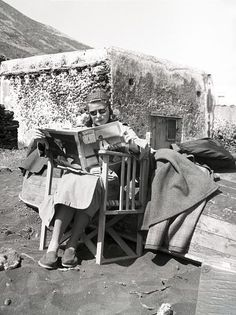 "Ingrid Bergman on the set of ""Stromboli""."