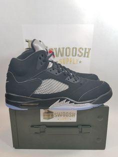 8e323633e85 Nike Air Jordan Retro V 5 OG Black Metallic Silver 845035-003 2016 SZ 14