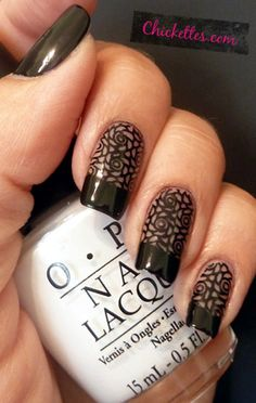 Chickettes.com:  Black French Tips with Floral Lace Design
