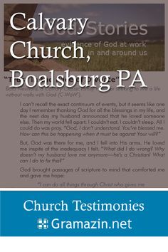 Calvary Church of Boalsburg PA has published testimonies.