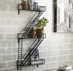 Buy New York Fire Escape Rack in Singapore,Singapore. New York, New York. The humble fire escape is as much an icon of the city as the grand buildings around. Think Holly Golightly singing on the fire escape in Bre Chat to Buy Fire Escape Shelf, Deco Originale, Room Decor, Wall Decor, Wall Art, Diy Wall, Home And Deco, Industrial Chic, Industrial Shelving