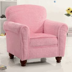 Kids Fun Upholstered Accent Club Arm Chair With Dark Brown Legs Wrapped In Soft Pink Fabric. (Item# Vista Furniture CF460405)