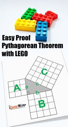 LEGO Math: Easy proof Pythagorean Theorem with LEGO, with Step-by-step instruction and a full size LEGO proof template, table of Pythagorean Triples LEGO Math: Easy proof Pythagorean Theorem w Lego Activities, Fun Math Games, Counting Games, Steam Learning, Kids Learning, Lego Math, Maths, Pythagorean Theorem, Kids Math Worksheets