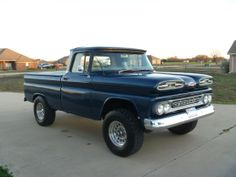 1961 Chevy on 1989 4X4 Blazer suspension. Considering that it originally was a 2WD (according to the VIN) Idaho state truck, it is amazingly straight & solid. Built by Jeremy Daigle & the truck club he belongs to in south Louisiana. It has a 283 V-8, 700R4  A/T, 60/40 bench seat, Dolphin gauges, Vintage Air A/C-Htr-Df, Pwr windows,  3-spoke steering wheel, 100A alt & electric fan.