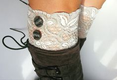 Cozy Gray White Lace Boot Cuffs with Cute Buttons.