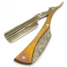Harner 7/8 Damascus Razor, Titanium & Exotic Hardwood scales. The Damascus steel is beautiful! | ClassicShaving