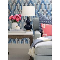 Art deco gets a modern island flair in this geometric lattice wallpaper. Bold diamonds in shades of hazy grey and dusty blue intertwine in perfect harmony. A sheer patterned overlay softens the design. Geometrics convey a contemporary look in a room, Decor, South Shore Decorating, White Decor, Wallpaper Living Room, Home Decor, Geometric Wallpaper, Custom Window Blinds, Blue White Decor, Home Wallpaper