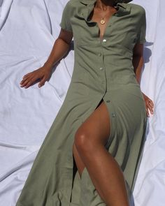 """1,074 Likes, 8 Comments - Na Nin Vintage (@naninvintage) on Instagram: """"Vintage 100% raw silk sage button up dress, falls at the ankle. Can adjust amount of leg shown due…"""""""