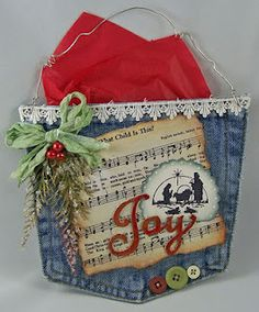 Holiday Denim Pocket....another great use for old jean pockets!