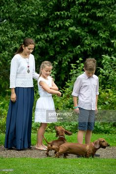 Crown Princess Mary with Prince Christian and Princess Isabella attend the annual summer Photocall for The Danish Royal Family at Grasten Castle, on July 25, 2015 in Grasten, Denmark.