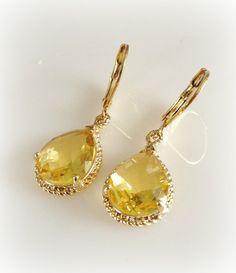 Citrine Gold Teardrop Earrings by tudorshoppe on etsy