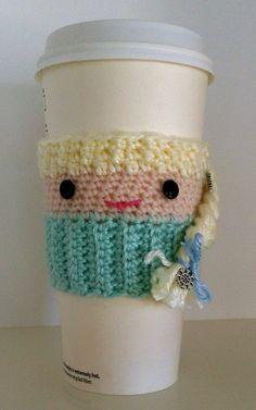 Elsa Inspired Cup Cozy Frozen Inspired Cup Cozy by InChains Crochet Coffee Cozy, Crochet Cozy, Crochet Gifts, Crochet Yarn, Crochet Dolls, Coffee Sleeve, Crochet Kitchen, Crochet Projects, Crochet Patterns