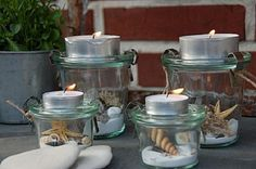 Neue Deko im Weckglas / New deco in glasses Neue Deko im Weckgla. Neue Deko im Weckglas / New deco in glasses Neue Deko im Weckglas / New deco in glasses Pot Mason, Mason Jars, Old Cds, Old Sweater, Pots, Candle Lanterns, Candles, Decoration Table, Crafty Projects