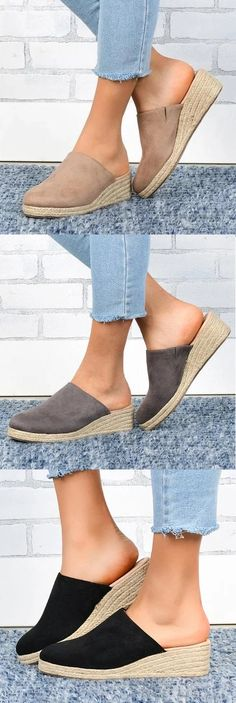 Toe Type:Closed Toe Sandals Style:Espadrille Sandals Heel Type:Wedge Heel Gender:Women Shoes Style:Slip-On Heel Height:Med Cute Shoes Boots, Cute Sandals, Comfy Shoes, Me Too Shoes, Shoe Boots, Comfortable Shoes, Ugg Boots, Espadrilles, Espadrille Sandals