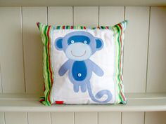 Monkey Applique Children's Cushion, throw pillow. New baby gift. - pinned by pin4etsy.com