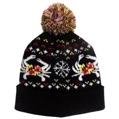 Maryland Flag Crab & Snowflake (Black) / Knit Beanie Cap w/ Pom-Pom University Of Maryland, Baltimore Maryland, Love And Co, Pride Outfit, Pride Shirts, Nautical Jewelry, Orange Fashion, Winter Essentials, Black Knit