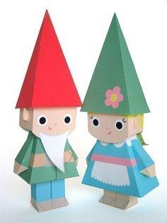 Gnome Dolls Printable Paper Craft PDF