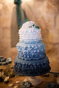 Ruffles Blue Ombre cake