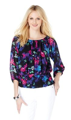 Show off your feminine side with this chic sheer chiffon peasant blouse by @ColleenLopezHSN. Are you eyeing the floral prints or the solid colors? We say grab one of each!