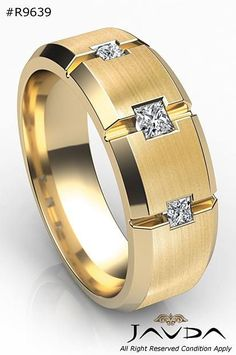 Princess Cut Men's Diamond Wedding Ring in Yellow Gold