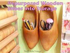 I found these fabulous wooden shoes at a garage sales and I hung them on the wall for extra storage in my craft studio. Craft Room Storage, Diy Storage, Storage Ideas, Craft Rooms, Extra Storage, Kitchen Storage Containers, Leather Wall, Hanging Picture Frames, Shoe Last
