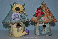 -Shiny Moon Beams- Blog 2 #Rounded #bird #houses made with #Susan's #Garden #Sizzix.