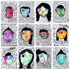 Abstract self portraits inspired by @tadcarpenter's cover art for Wonder. Fifth graders drew their face and hair. Traced with bold lines and colored the hair in like a silhouette. They spent two Class days exploring three different paint materials/techniques, and creating word lists and practice word clouds They explored @kwikstixpaint, #jackricheson neon tempera cakes, and wet-on-wet liquid watercolors with salt. They selected their own technique and design and painted their faces and ears…
