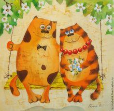 Животные ручной работы. Ярмарка Мастеров - ручная работа Влюблённые котики. Handmade.
