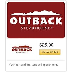 Outback Steakhouse - E-mail Delivery         ** Check this awesome product by going to the link at the image. (This is an affiliate link) #GiftCards