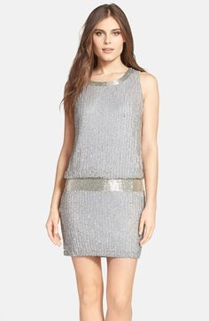 Icy beads and sequins trace glittering stripes into a silken tank dress that swoops to a low, scooped back. Dense, embellished clusters glamorously define the neckline and dropped waist. Color(s): grey. Brand: Adrianna Papell. Style Name: Adrianna $248.00 by nordstrom
