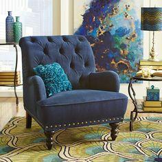 Chas Navy Blue Velvet Armchair