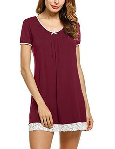 Women s Nightgown Cotton Sleep Shirt Scoopneck Short Sleeve Sleepwear S-XXL 402a8a017